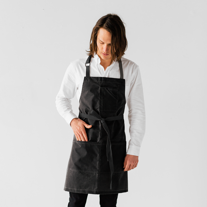 Black Waxed Canvas Stock Apron