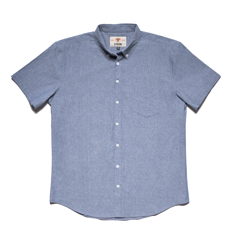 Men's Short Sleeve Blue Service Chambray
