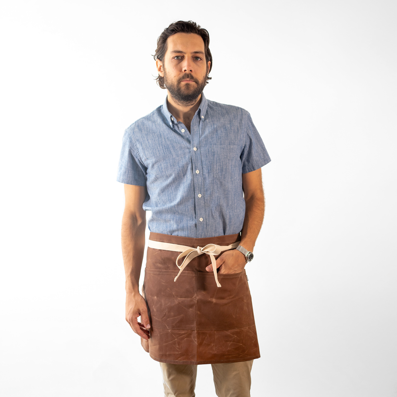 Brown Waxed Canvas Waist Apron
