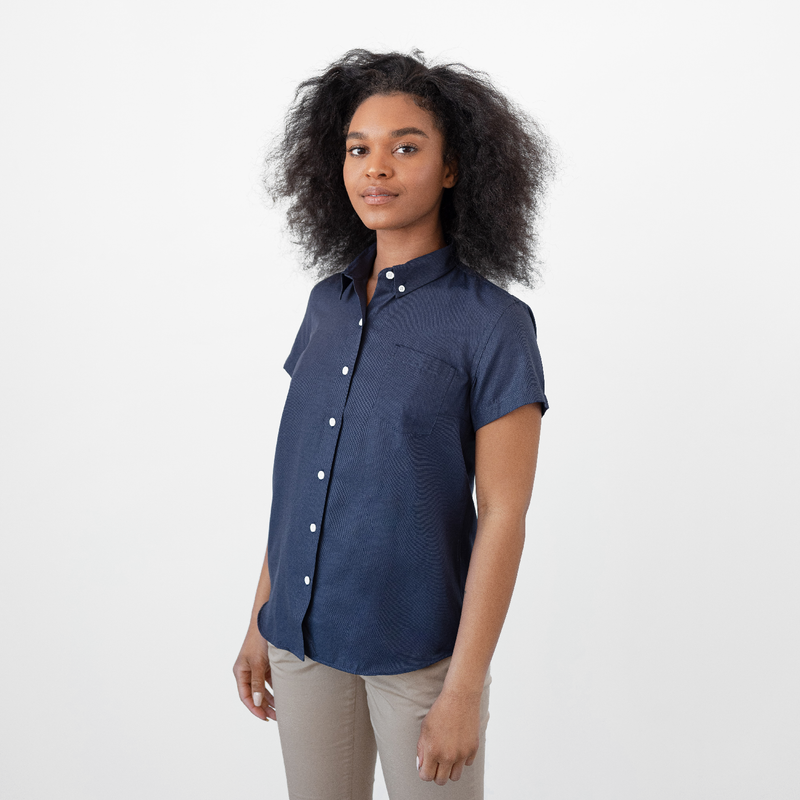 Women's Short Sleeve Deep Indigo Service Oxford