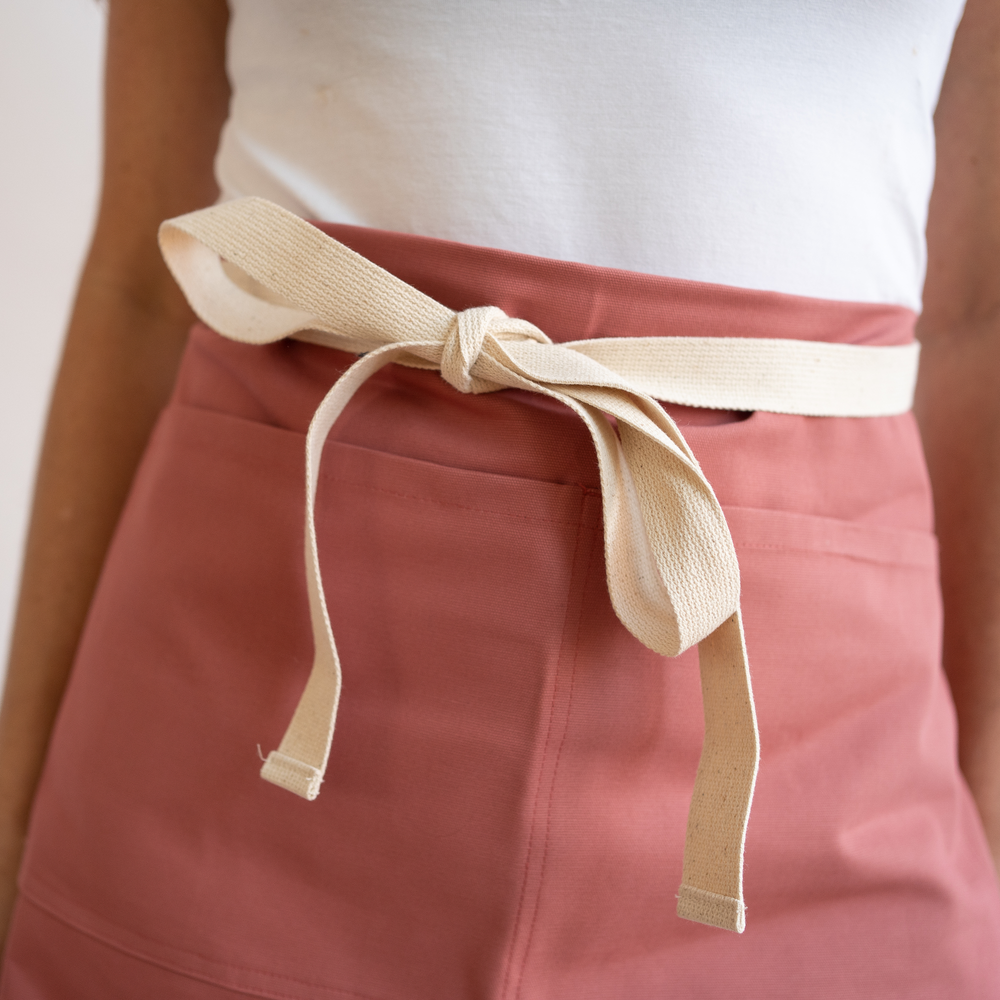 Dusty Red Canvas Waist Apron