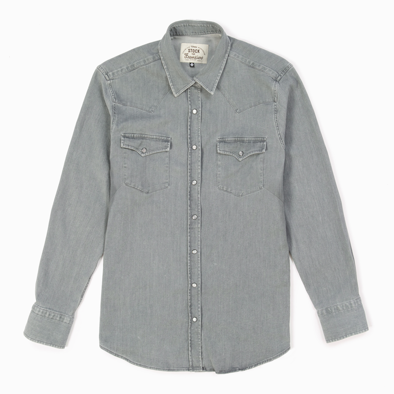 Women's Washed Gray Denim Frontier Shirt