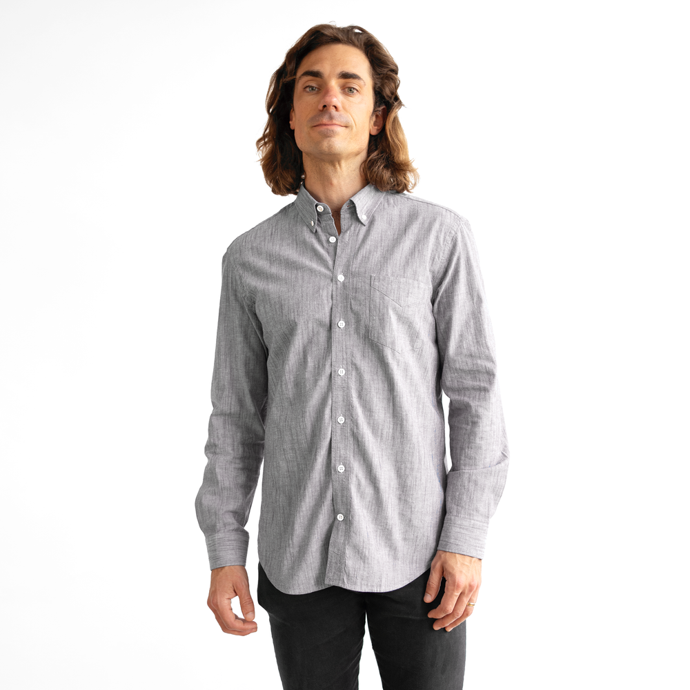 Mens Gray Stretch Service Chambray