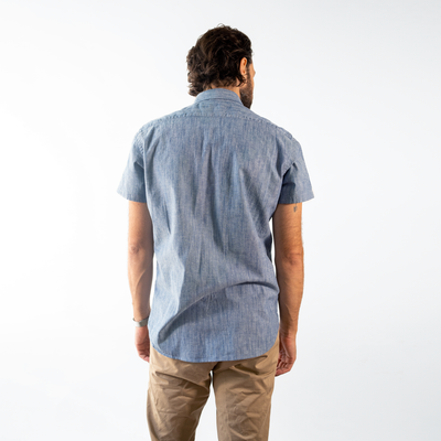 Men's Short Sleeve Blue Stretch Service Chambray