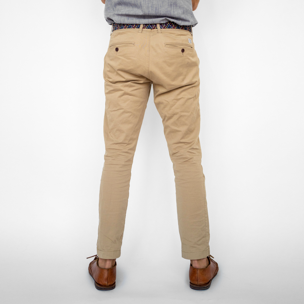Mens Khaki Stretch Service Chino