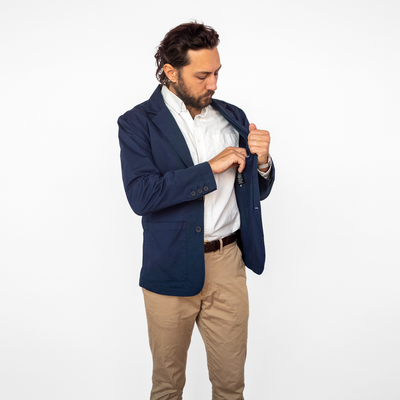 Men's Unstructured Navy Blazer
