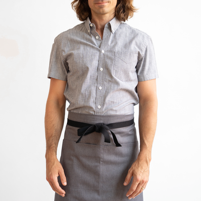 Mens Short Sleeve Gray Stretch Service Chambray