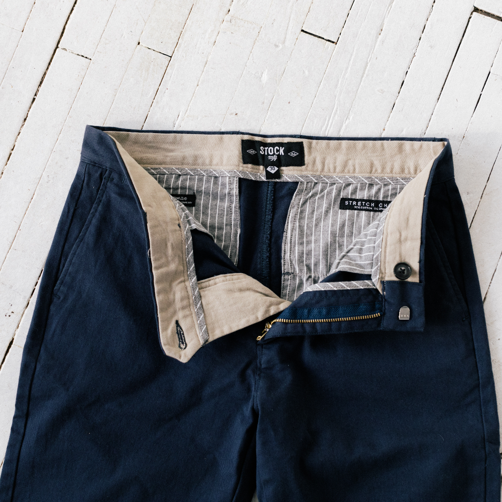 Mens Navy Stretch Service Chino