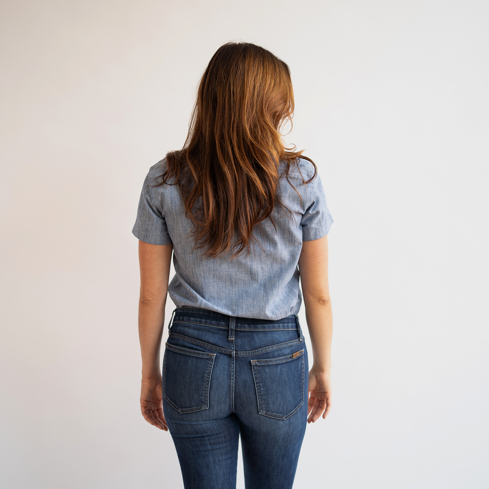 Women's Short Sleeve Blue Stretch Service Chambray