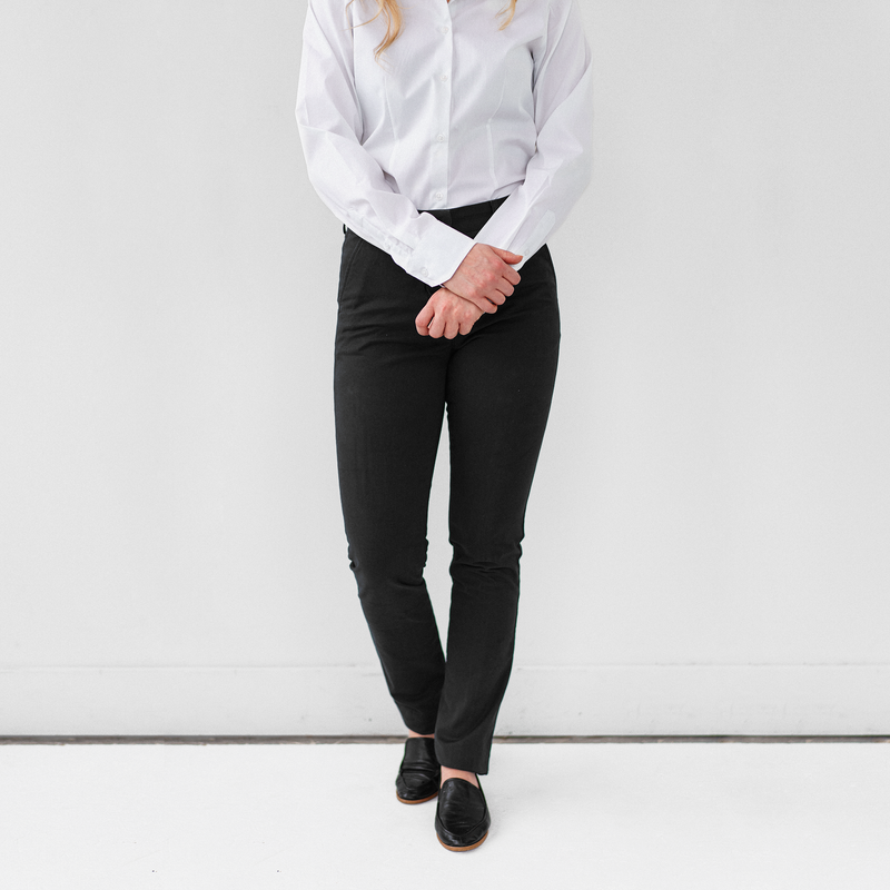 Womens Black Stretch Service Chino