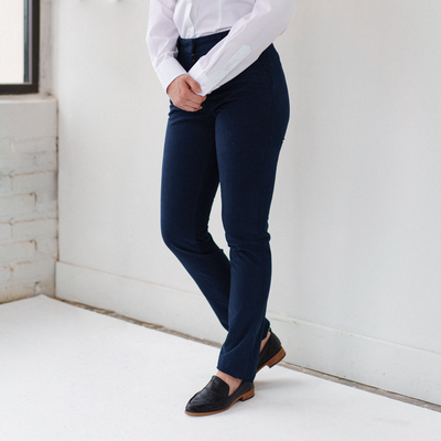 Womens Navy Stretch Service Chino