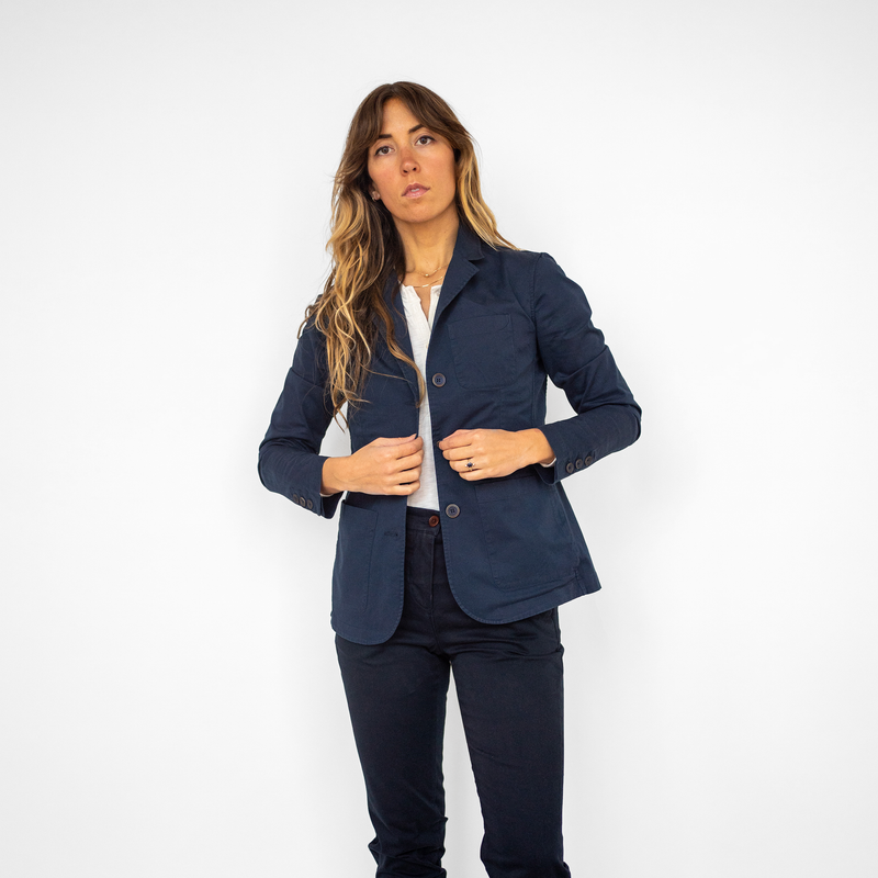 Women's Unstructured Navy Blazer