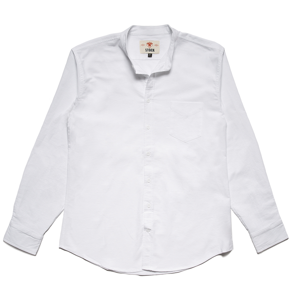 Men's White Banded Collar Service Oxford