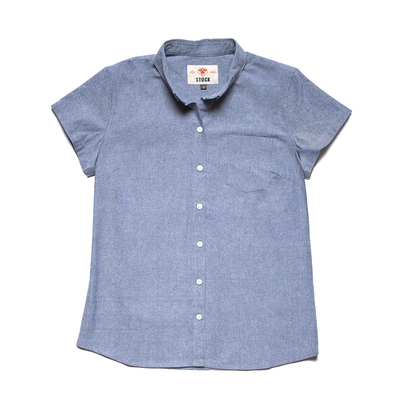 Women's Short Sleeve Blue Service Chambray