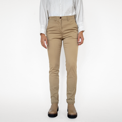 Womens Khaki Stretch Service Chino