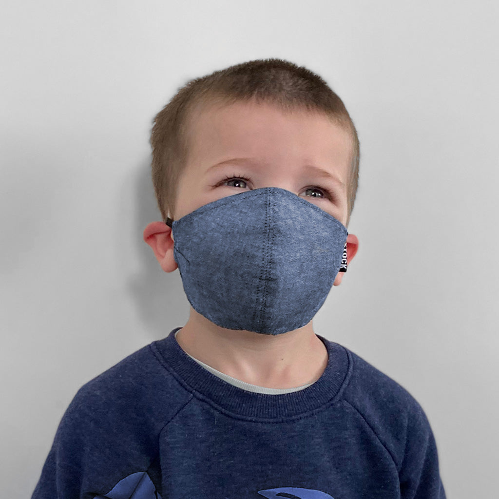 Kids Blue Chambray Washable Face Mask