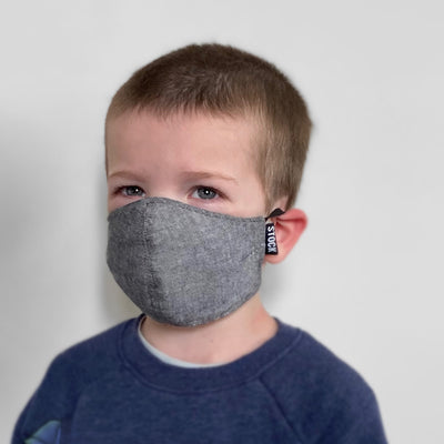 Kids Gray Chambray Washable Face Mask