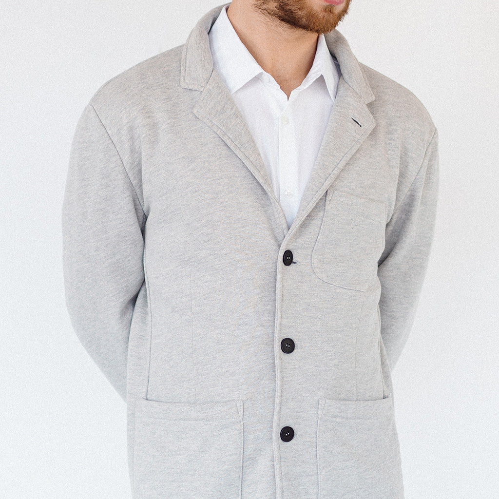 Heather Gray French Terry Unstructured Blazer