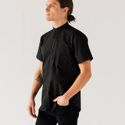 Mens Black S/S Banded Collar Service Shirt