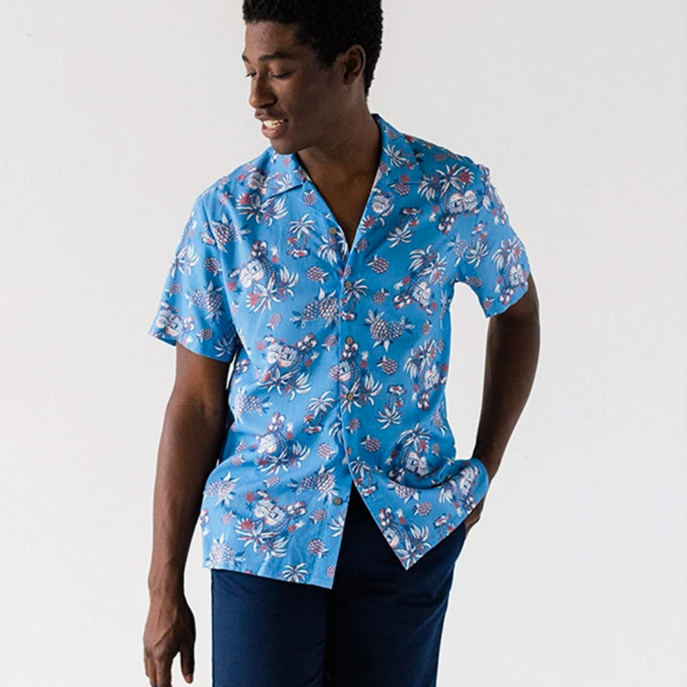 Blue Tropical Island Camp Shirt