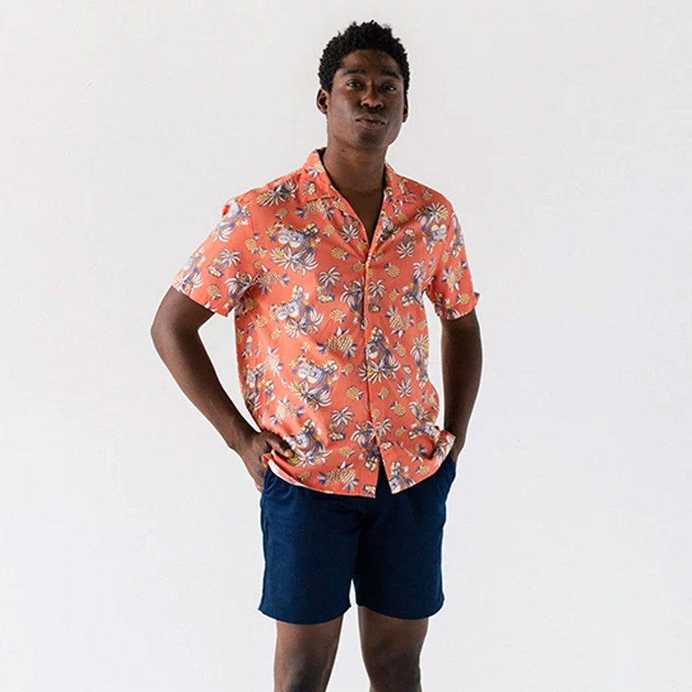 Red Tropical Island Camp Shirt