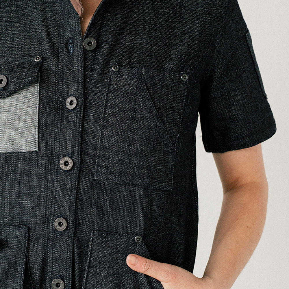 Womens Black S/S Denim Chef Shirt
