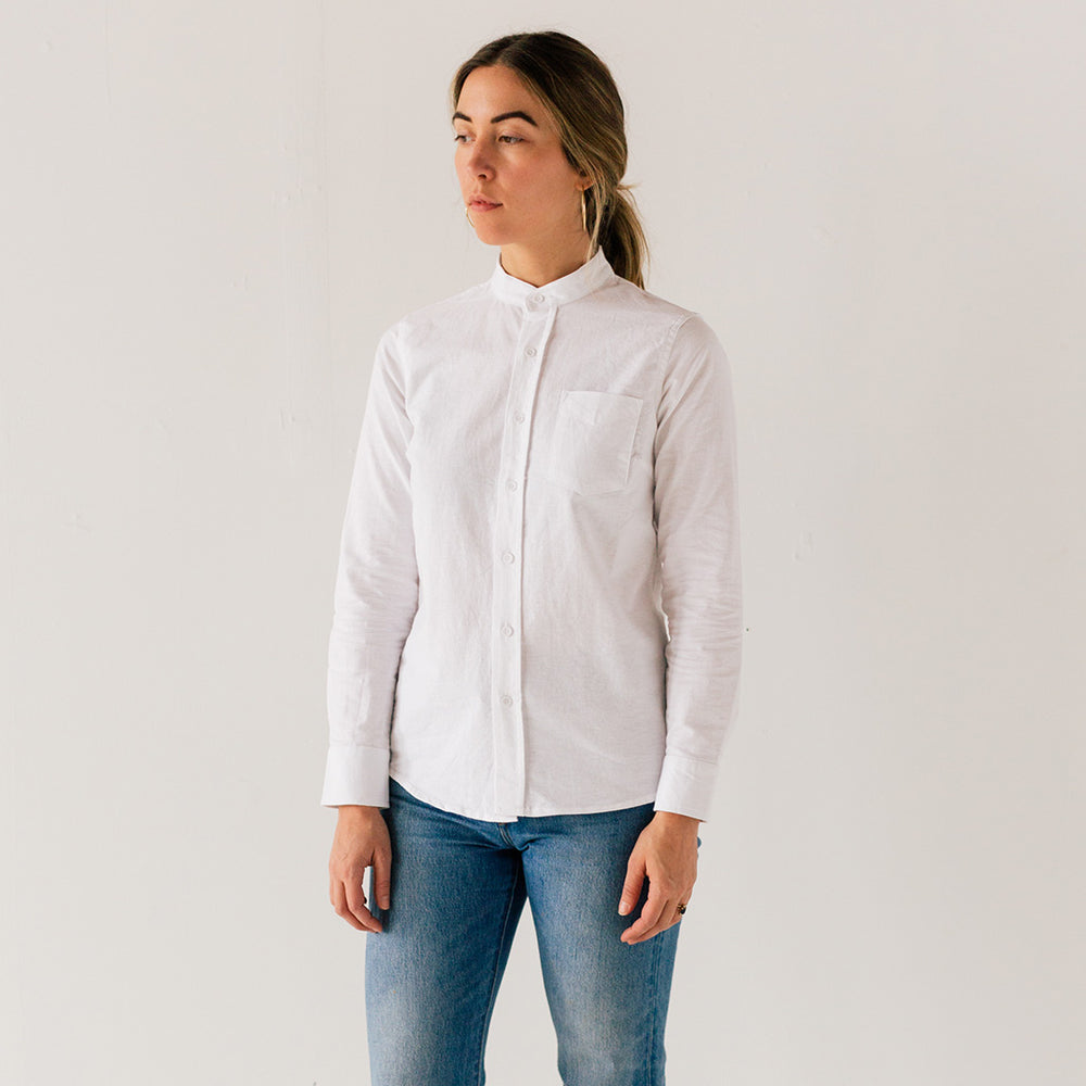 Women's White Banded Collar Service Oxford