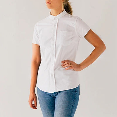 Women's White Short Sleeve Banded Collar Service Oxford