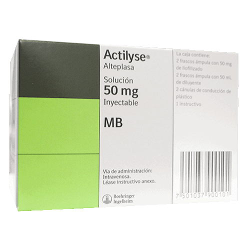 ACTILYSE 50MG C/2 FCO AMP