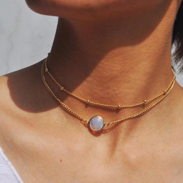 OPAL STONE DOUBLE LAYERED CHOKER