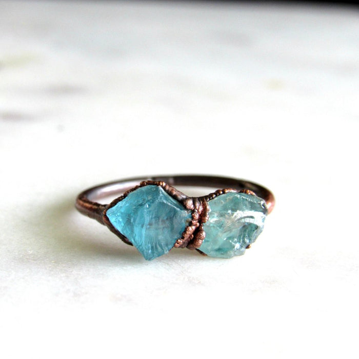 Crystal Ring, Raw aquamarine ring, Apatite Ring