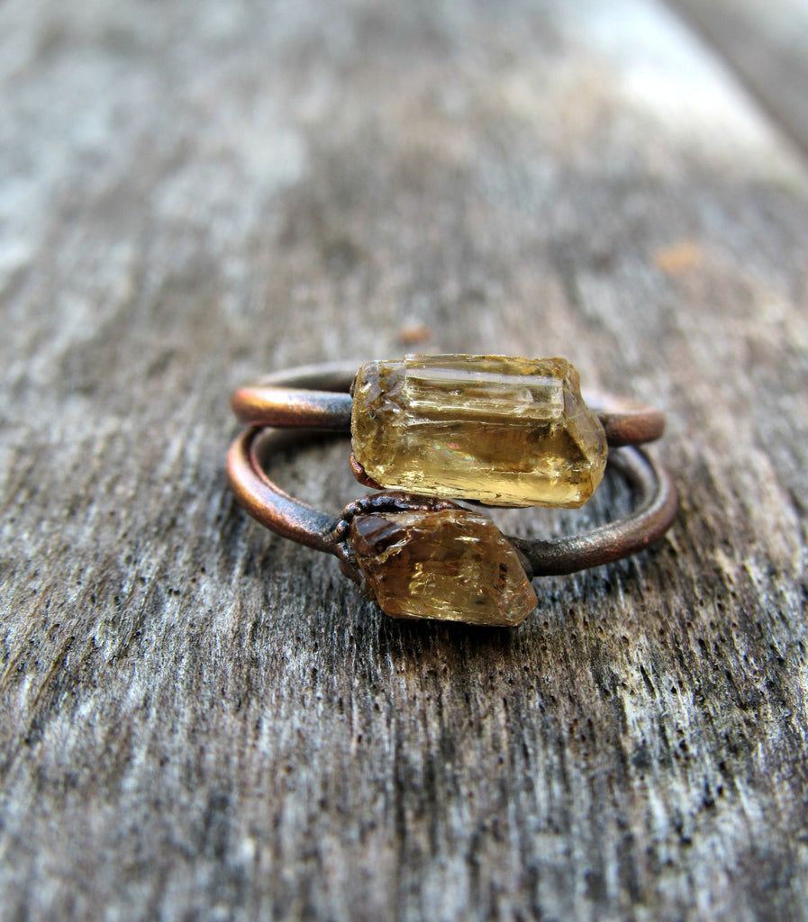 Raw Topaz ring | Topaz crystal ring| Imperial Topaz Ring | Raw Topaz crystal ring | November Birthstone Ring | Birthstone Jewelry