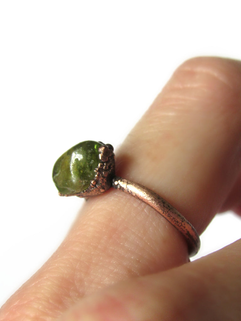 Green Peridot Ring | Alternative Engagement Ring