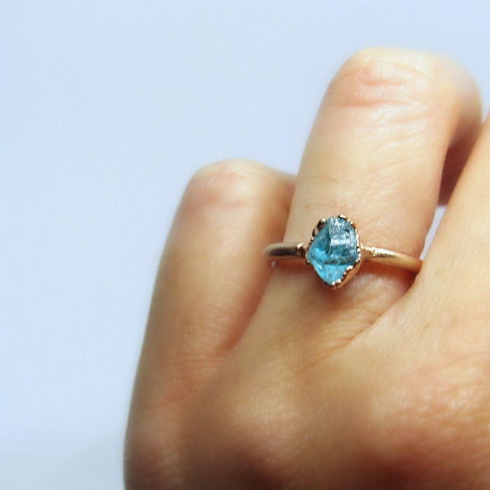 Dainty Crystal Ring, Stacking ring, Apatite Ring