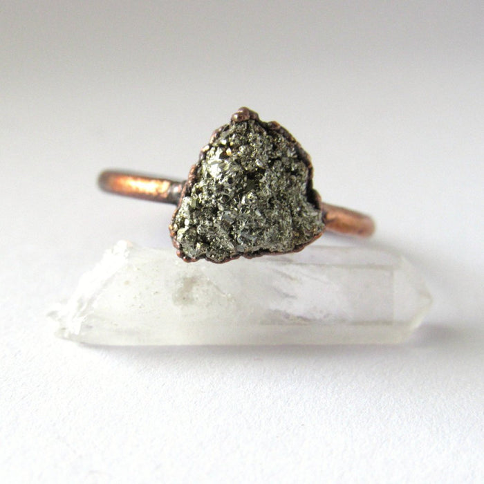 Raw pyrite ring, Fool's gold jewelry, Fool's gold ring