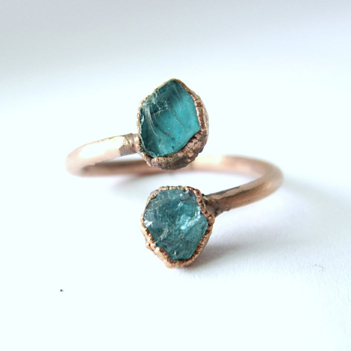 Crystal Ring, Raw gemstone ring, Apatite Ring
