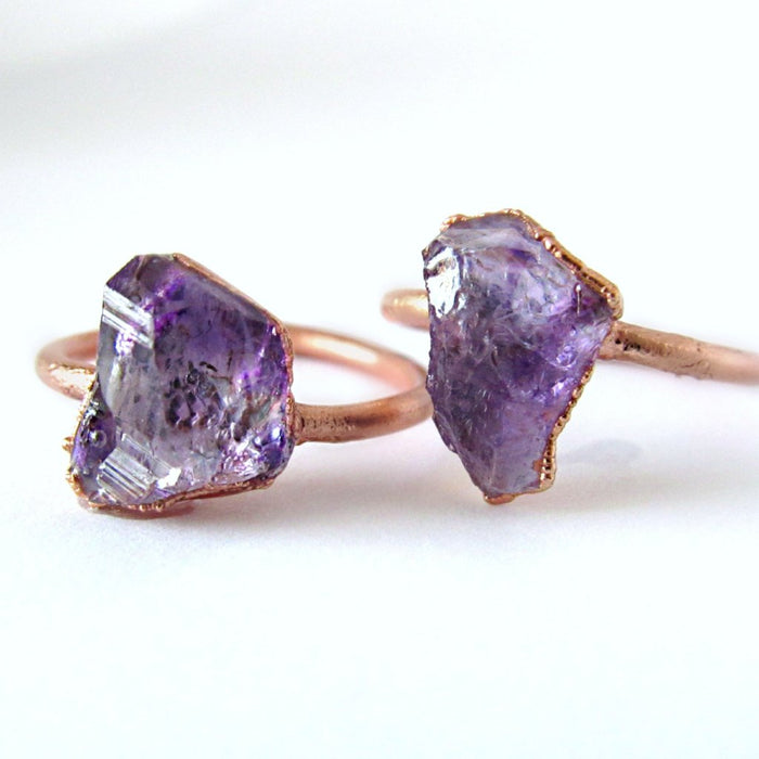 Raw Amethyst Ring, Amethyst Ring, Delicate Ring, Raw Stone Ring,