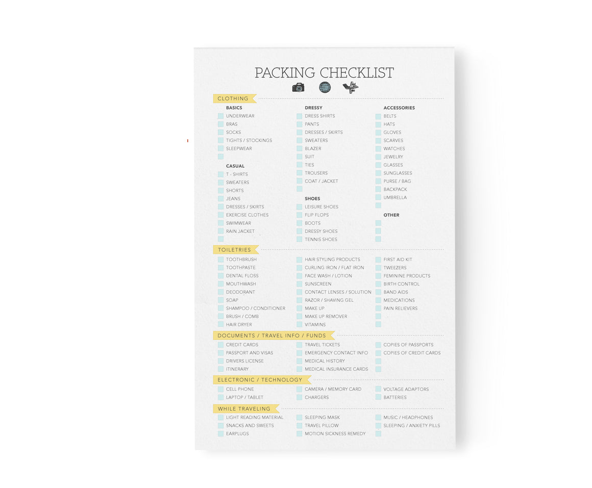 Packing Checklist Notepad
