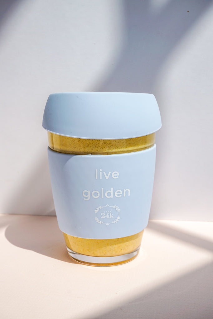 Live Golden Tumbler (Reuseable Glass Coffee Cup)