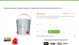 New Product - Water Generator Chicken Waterer