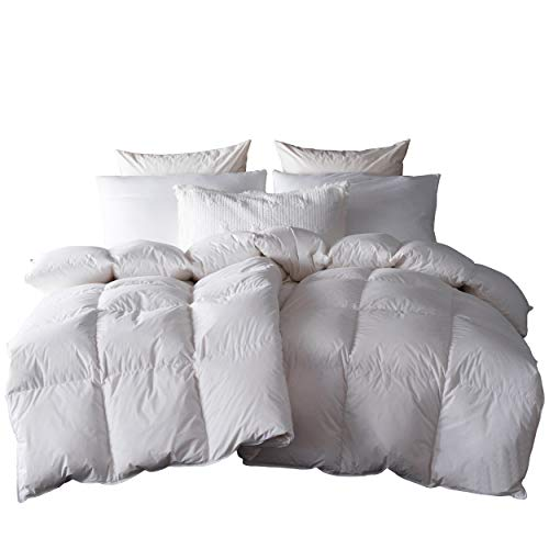 White Goose Down & Feather Blend Comforter King Size 100% Cotton Cover - Farmer Brad LLC