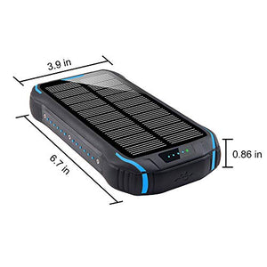 Solar Charger 26800mAh Qi Wireless Portable Solar Power Bank with LED Flashlight
