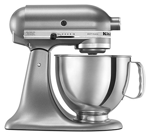 KitchenAid KSM150PSCU Artisan Series 5-Qt. Stand Mixer with Pouring Shield - Contour Silver - Farmer Brad LLC