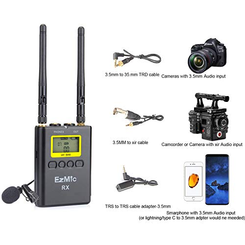 EzMic UHF Wireless Lavalier Microphone System with Battery Kit 100 Channels Lapel Lav Mic for DSLR Cameras iPhone Canon Nikon Sony Camcorder YouTube Vlog Interview  One Color / 1V2