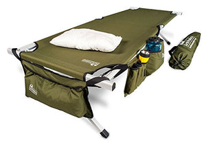 "EARTH Ultimate ""Extra-Strong"" Military Style Camping Cot, 5-YEAR WARRANTY, w/Free Side Storage Bag System and Pillow  GREEN"