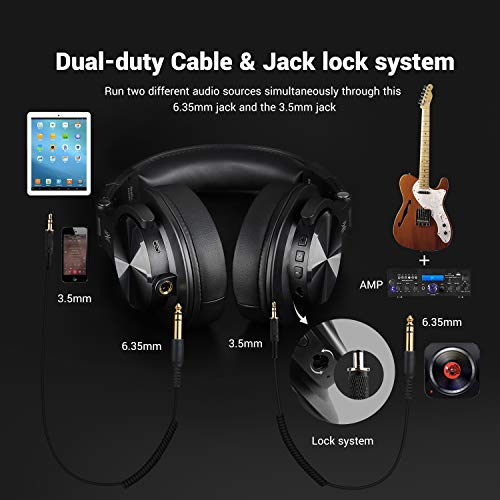 OneOdio A70 Bluetooth Over Ear Headphones, Studio Headphones with Shareport, Foldable, Wired and Wireless Professional Monitor Recording Headphones with Stereo Sound for Electric Drum Piano Guitar Amp - Farmer Brad LLC