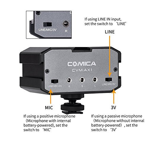 Comica CVM-AX1 Audio Mixer Adapter Universal Dual Channels 3.5mm Port Camera Mixer for Canon Nikon Sony Panasonic DSLR Camera Camcorder (Support Real-time Monitoring) - Farmer Brad LLC