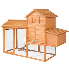 Best Choice Products 80in Wooden Chicken Coop Nest Box Hen House Poultry Cage Hutch w/ Ramp and Locking Doors - Brown - Farmer Brad LLC