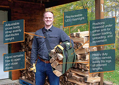 WoodOX Sling - The World's Most Ergonomic Firewood, Kindling, and Log Carrier - Designed in Vermont by LogOX and Made in USA (Patent Pending) - Farmer Brad LLC