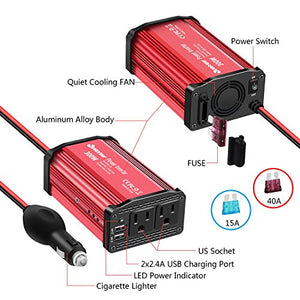 300W Power Inverter DC 12V to 110V AC Converter with 4.8A Dual USB Car Charger Adapter-Red - Farmer Brad LLC